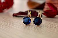Сережки из медицинского золота с синими камнями!