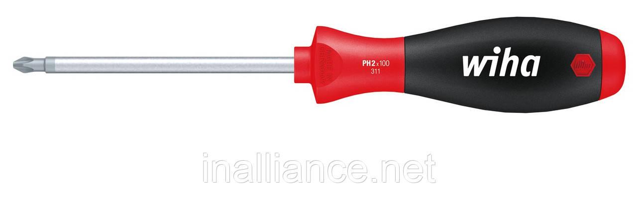 PH2 х 100 мм отвертка хром-ванадий-молибденовая сталь полная закалка SoftFinish Wiha 00759, фото 1