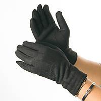Женские перчатки из искусственной замши с принтом  № 19-1-64-3 черный S, фото 1