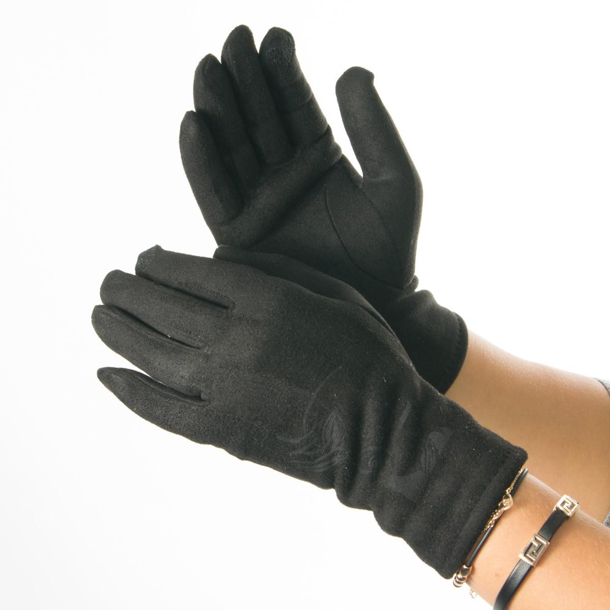 Женские перчатки из искусственной замши с принтом  № 19-1-64-3 черный S