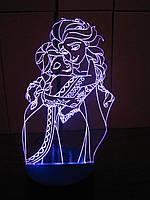 3d-светильник Эльза и Анна, Холодное сердце, Frozen, 3д-ночник, несколько подсветок (на батарейке)