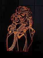 3d-светильник Эльза и Анна, Холодное сердце, Frozen, 3д-ночник, несколько подсветок (батарейка+220В)