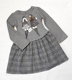 Детское  платье Дамочка  98-116 серый