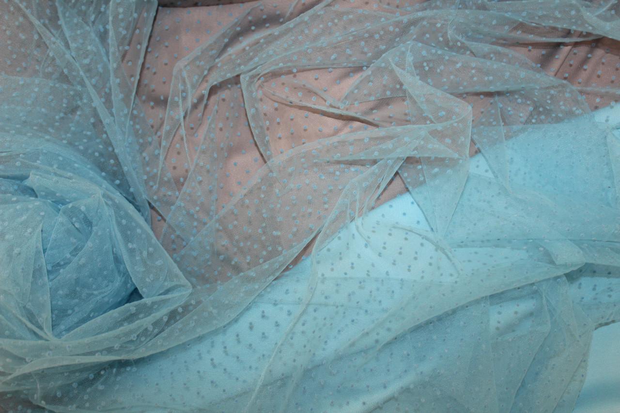 Сетка воздушная легкая, мягкая, не стрейч, Точка флок, цвет голубой небесный светлый №602, фото 1