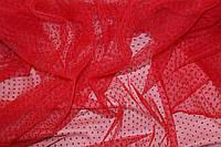 Сетка воздушная легкая, мягкая, не стрейч, Точка флок, цвет красный № 603, фото 1