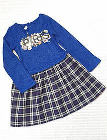 Детское  платье Дамочка  98-116 синий