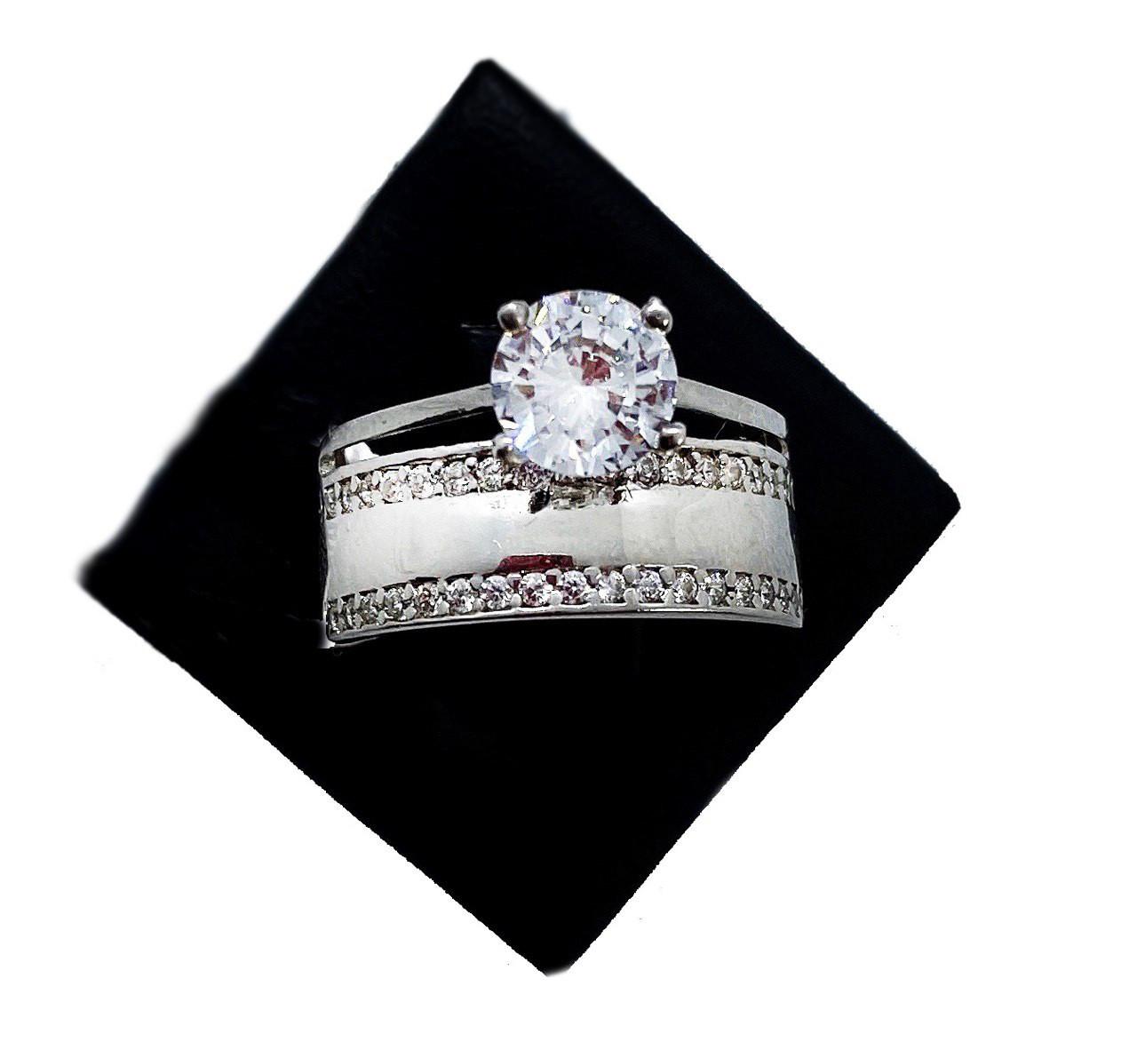 Кільце з срібла 925 Beauty Bar в стилі весільної модель Line (розміри 16,5-18)