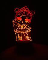 3d-светильник Кукла ЛОЛ 1 Балерина, 3д-ночник, несколько подсветок (на батарейке)
