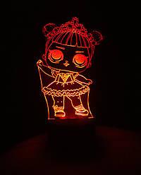 3d-світильник Лялька ЛОЛ 1 Балерина, 3д-нічник, кілька підсвічувань (на батарейці)