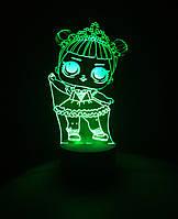 3d-светильник Кукла ЛОЛ 1 Балерина, 3д-ночник, несколько подсветок (батарейка+220В)