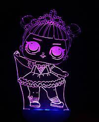 3d-світильник Лялька ЛОЛ 1 Балерина, 3д-нічник, кілька підсвічувань (на пульті)