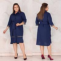 Нарядное осеннее платье из костюмного габардина + кружева с жемчугом, карманами, поясом и пуговицами (48-58) Синий