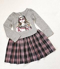 Детское  платье Дамочка  98-116 серый+ розовый