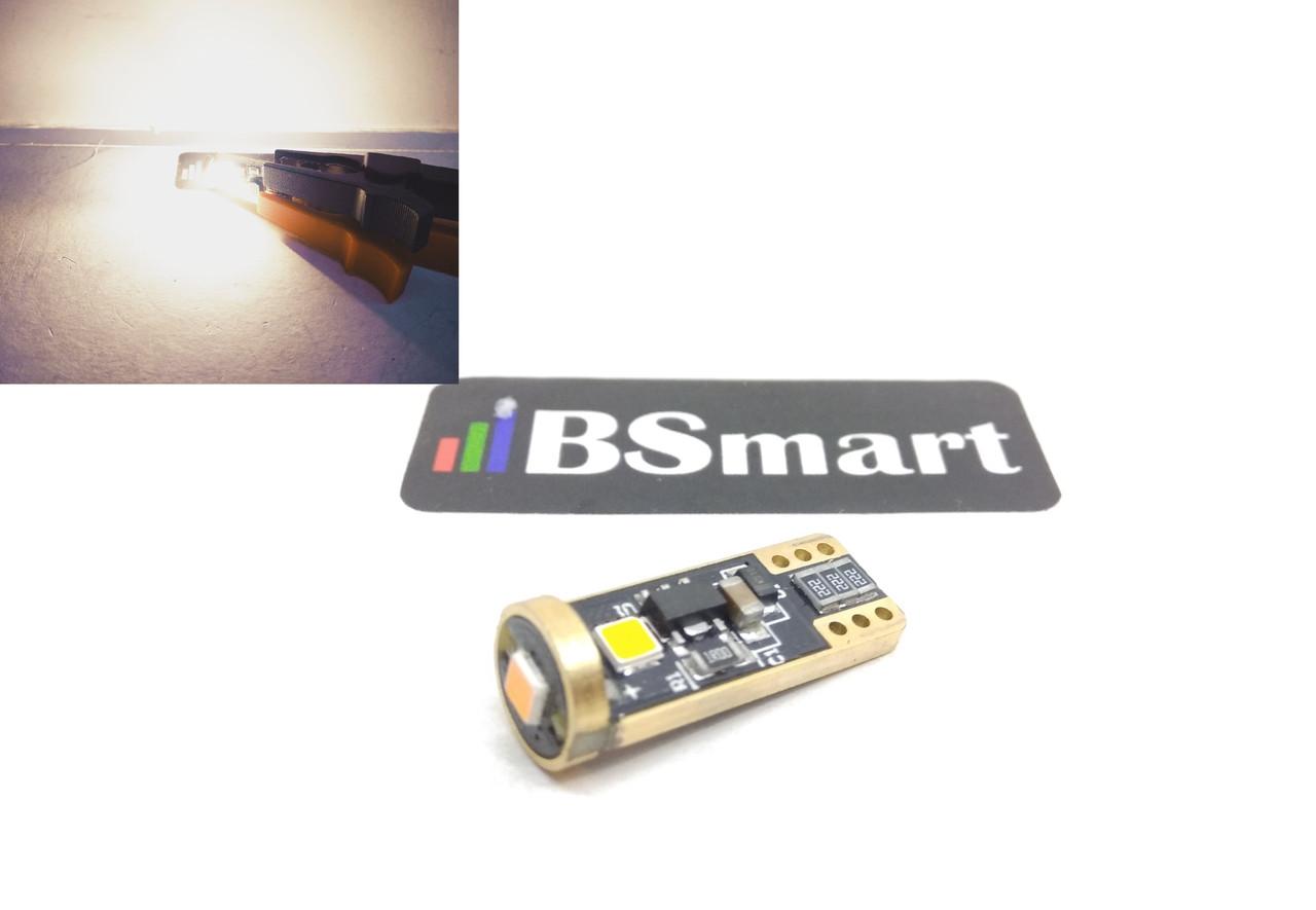 LED светодиодная авто лампа T10 W5W, Epistar 3030, 9-12В, 5Вт, CANBUS, Теплый белый (галоген)