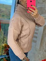 Свитер женский стильный, теплый, пудровый, 211-0777-5, фото 1
