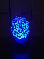 3d-светильник Лев 1, 3д-ночник, несколько подсветок (на батарейке)