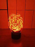 3d-светильник Лев 1, 3д-ночник, несколько подсветок (батарейка+220В)