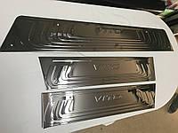 Mercedes Vito / V W447 2014↗ гг. Накладки на внутренние пороги Черный Хром (3 шт, нерж) 3 накладки