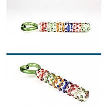 Фалос стеклянный цветной с ручкой сердечком Rainbow Loveпрозрачный радужный, фото 3