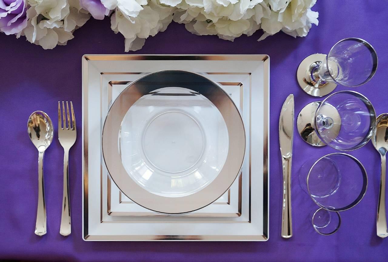 Ножи столовые стекловидные серебреные элитные прочные для пикника. Полная сервировка стола. CFP 12 шт 200 мм
