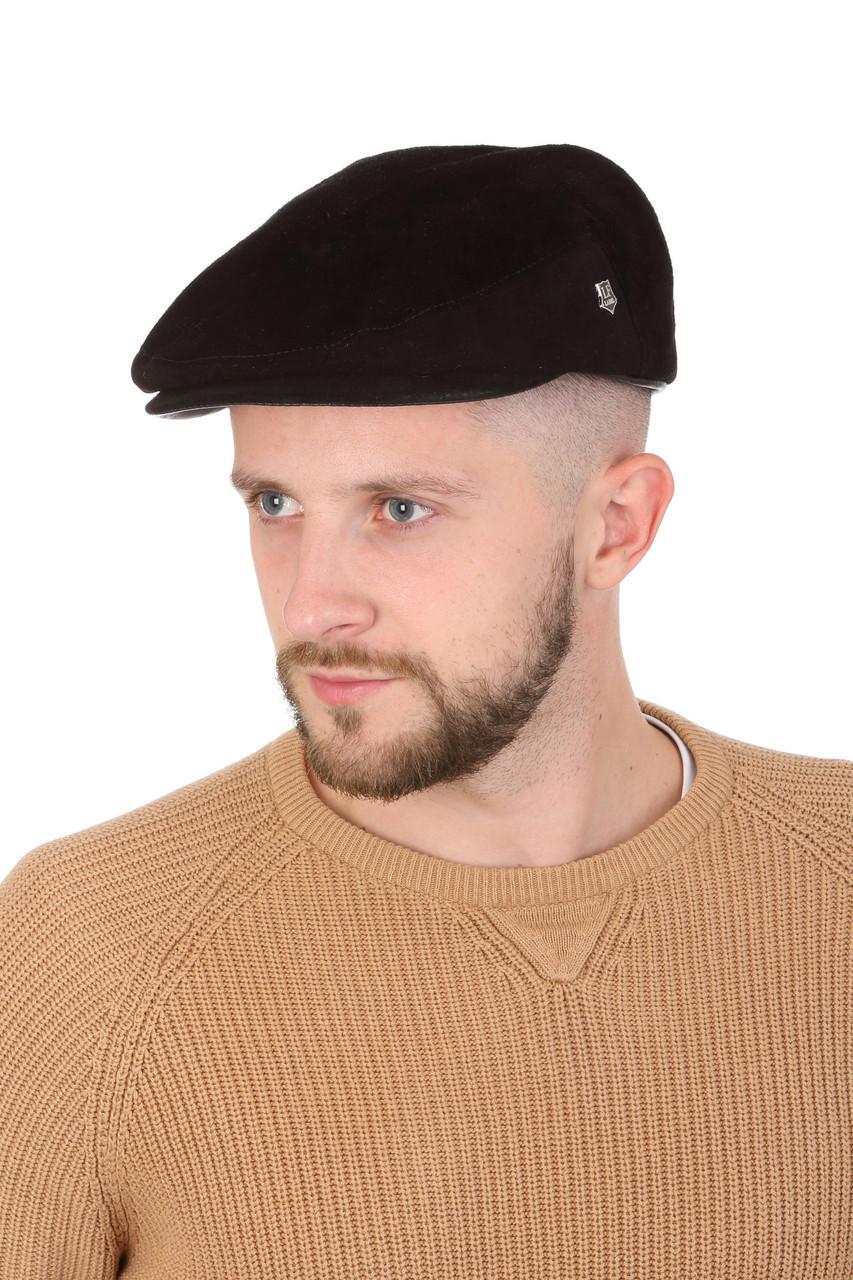 Кепка замшевая мужская черная реглан