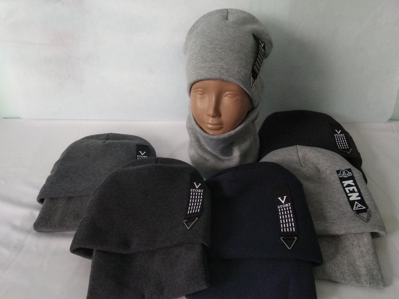 """Комплект шапка и баф зимний на флисовой """"KEN.."""" подкладке размер 50"""