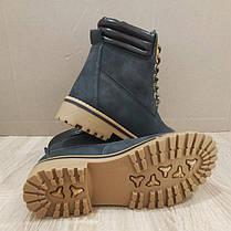 Ботинки зимние в стиле timberlend высокие на шнуровке серые теплые еврозима тимберленд, фото 3