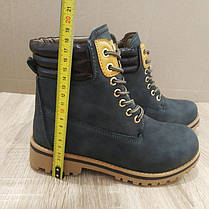 Ботинки зимние в стиле timberlend высокие на шнуровке серые теплые еврозима тимберленд, фото 2