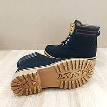 Ботинки зимние в стиле timberlend высокие на шнуровке черные теплые еврозима тимберленд, фото 3
