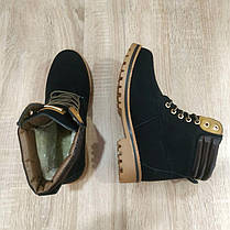 Ботинки зимние в стиле timberlend высокие на шнуровке черные теплые еврозима тимберленд, фото 2