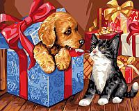 Картина по номерам Brushme Питомцы в подарках