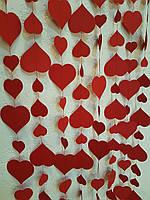 Гирлянды бумажные 2м красные сердца в стиле Royal Red для декора фотозоны