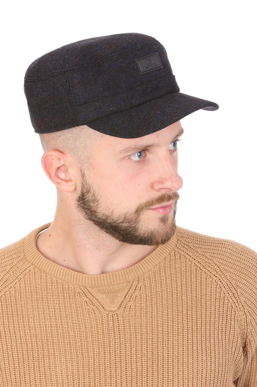 Кепка натовка мужская из ткани темно-серая в клетку