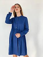 Платье в клетку теплое синее, фото 1
