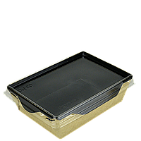 Салатник с прозр. пласт. крышкой Крафт/Черный 165*120*45мм 500мл 50шт/уп