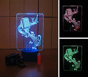 3d-светильник Микрофон и скрипичный ключ, 3д-ночник, несколько подсветок (батарейка+220В)