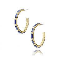 Серьги кольца вояж с синими камнями