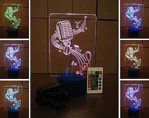 3d-светильник Микрофон и скрипичный ключ, 3д-ночник, несколько подсветок (на пульте), подарок для певца