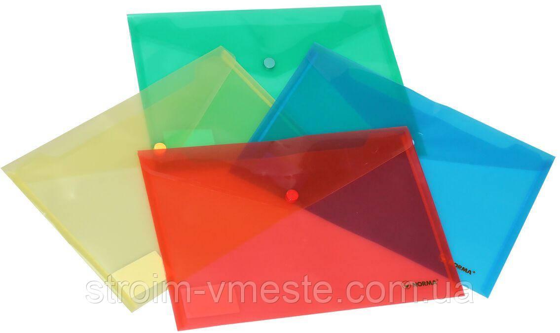 Папка конверт на кнопке NORMA 5018 В5 PР цвета в ассортименте