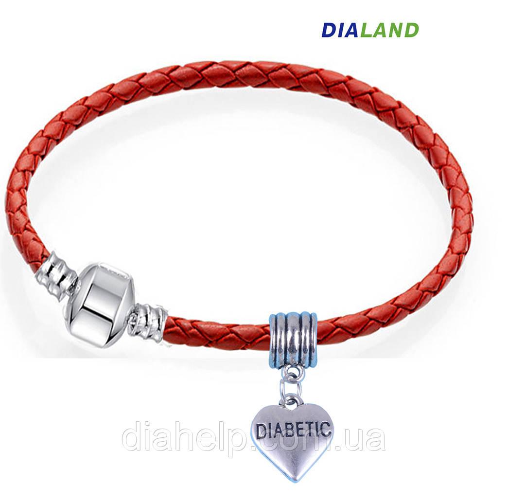"""Браслет в стиле Pandora """"DIABETIC"""" с кулоном сердце (мод.018)  17см"""