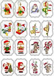 """Вафельная картинка для пирожных, пряников, тортиков """"Новогодние открытки 8"""", (лист А4)"""