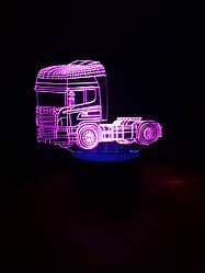 3d-світильник Вантажівка тягач, 3д-нічник, кілька підсвічувань (на батарейці)