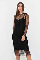 S, M, L / Вечірнє плаття в сіточку Pamela, чорний