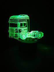 3d-світильник Вантажівка тягач, 3д-нічник, кілька підсвічувань (батарейка+220В)
