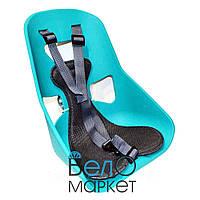 Легковесное Детское переднее велокресло, прочный пластик, на мужскую раму или багажник, бирюзовый