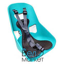 Легковажне Дитяче переднє крісло, міцний пластик, на чоловічу раму або багажник, бірюзовий