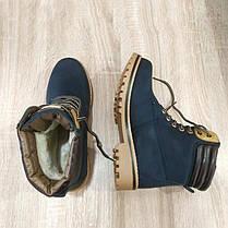 Черевики зимові стилі timberlend високі на шнурівці сині теплі сірі еврозима тімберленд, фото 2