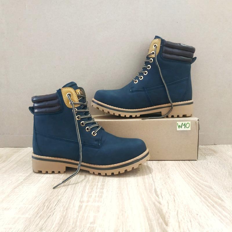 Черевики зимові стилі timberlend високі на шнурівці сині теплі сірі еврозима тімберленд