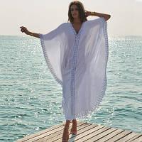 Пляжная хлопковая туника-платье оверсайз, белая, опт