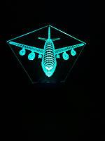 3d-светильник Самолет пассажирский, 3д-ночник, несколько подсветок (на пульте)